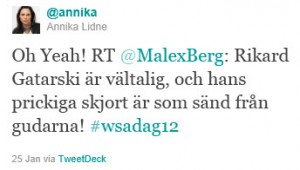 twitterklipp: Oh Yeah! RT @MalexBerg: Rikard Gatarski är vältalig, och hans prickiga skjort är som sänd från gudarna! #wsadag12